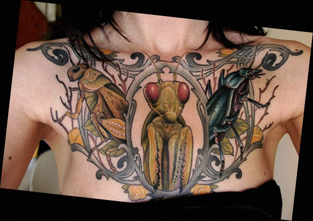 Insect Tattoo Which Includes Yellow Roses A Praying Mantis