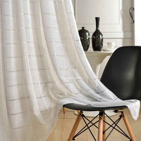 110 Width White Checks Embroidery Fabric White Curtains White