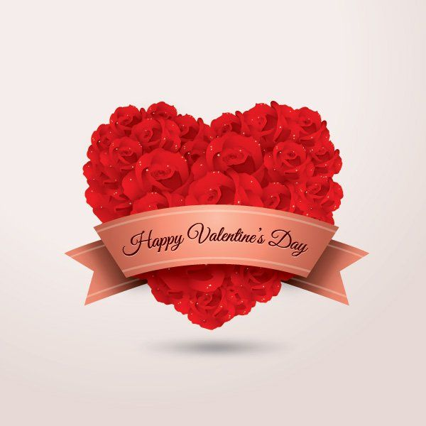heart shaped red rose flowers and banner with happy valentine's, Ideas