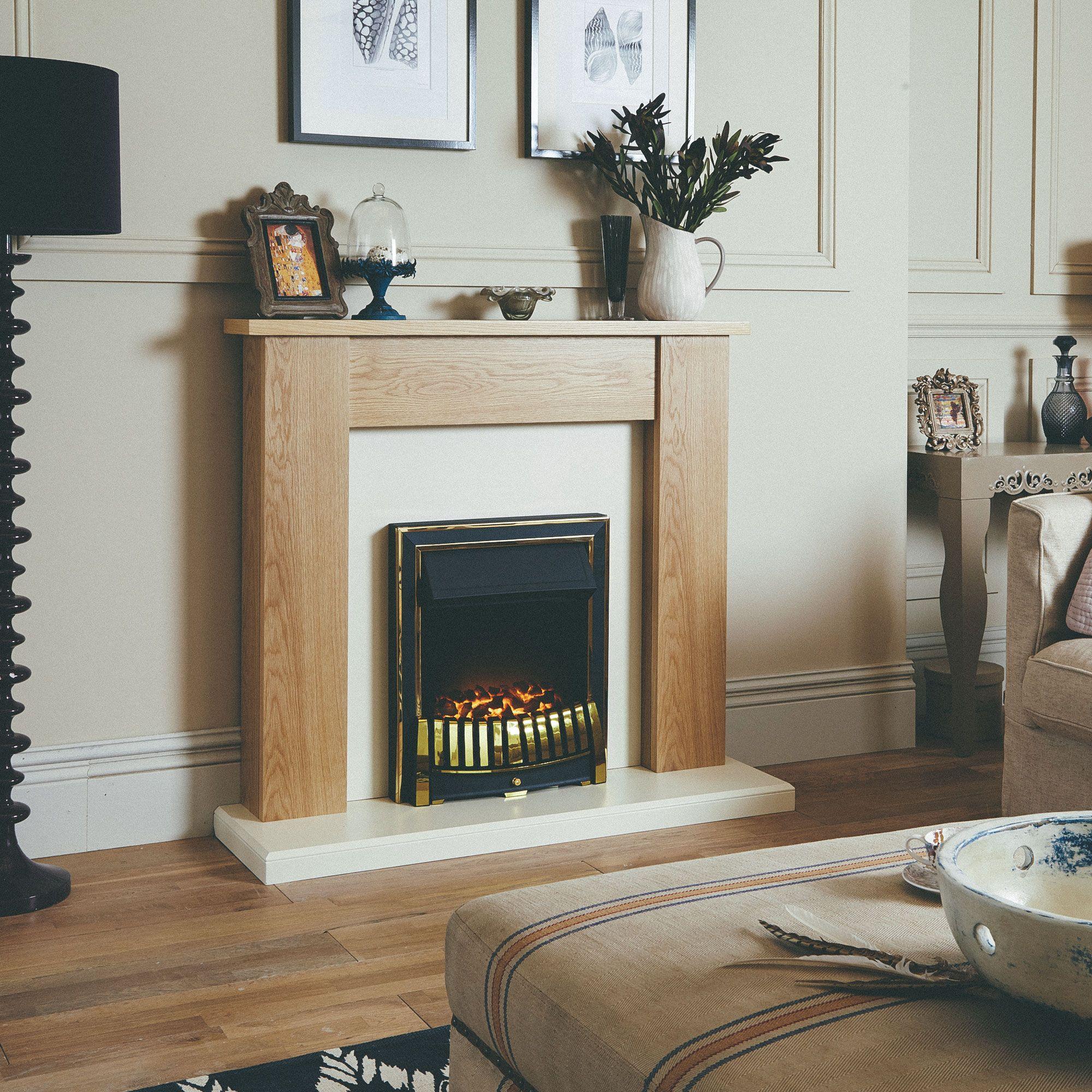 adam sutton fireplace suite in cream with blenheim electric fire
