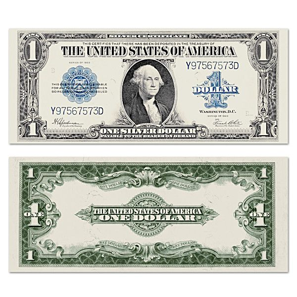 $1 1923 One Dollar Blue Seal USA Silver Certificate Note LARGE Bill Currency