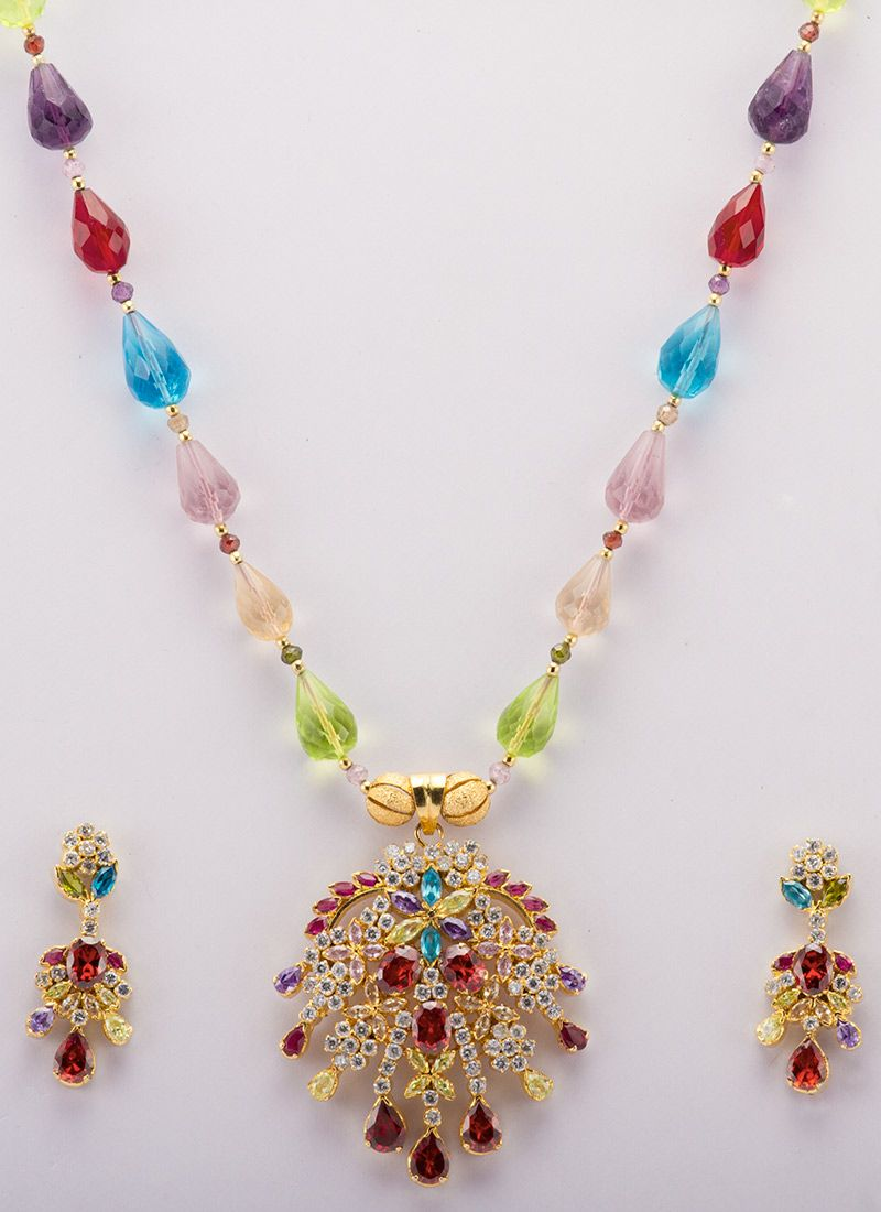 Multicolored beads adorned necklace set jewellery ideas to inspire
