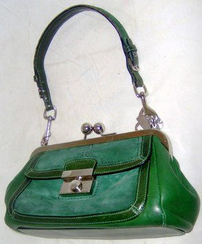 Coach Suede Leather Frame Kiss Lock Satchel in Green