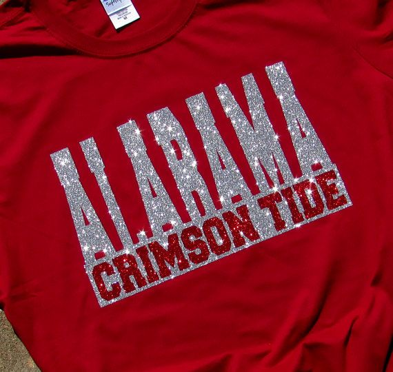 University Of Alabama Glitzy Bling Crimson Red Spirit T