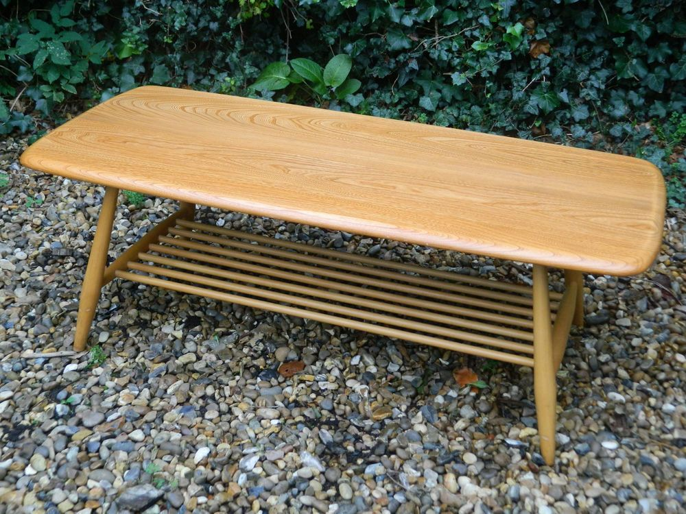 Vintage Ercol Coffee Table Magazine Rack Golden Dawn Gold Label VGC