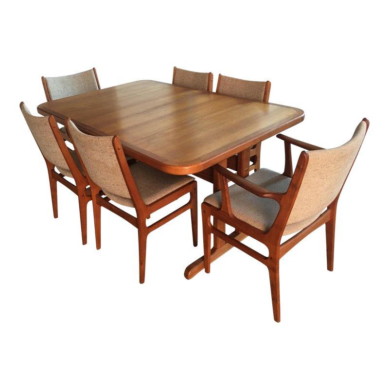 Tavolo Allungabile E 6 Sedie.Danish Modern Teak Extension Table With 2 Leaves And 6 Teak And