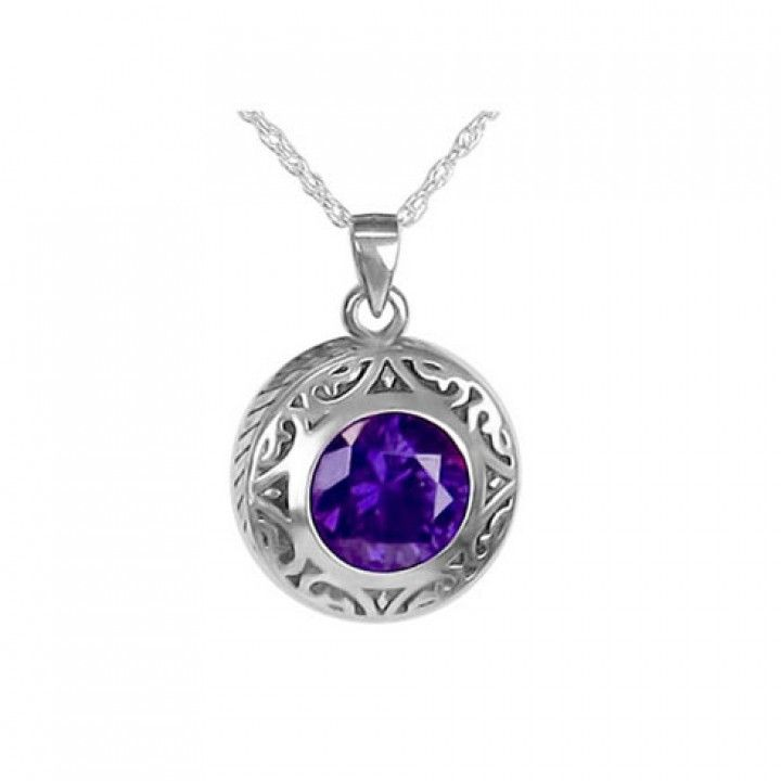 Ashes Keepsake Purple Amethyst Tear in 925 Sterling Silver Urn Necklace Mourning Jewelry