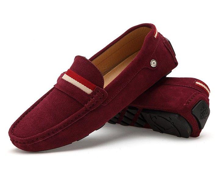 Mens #red leather #SlipOn shoe loafer
