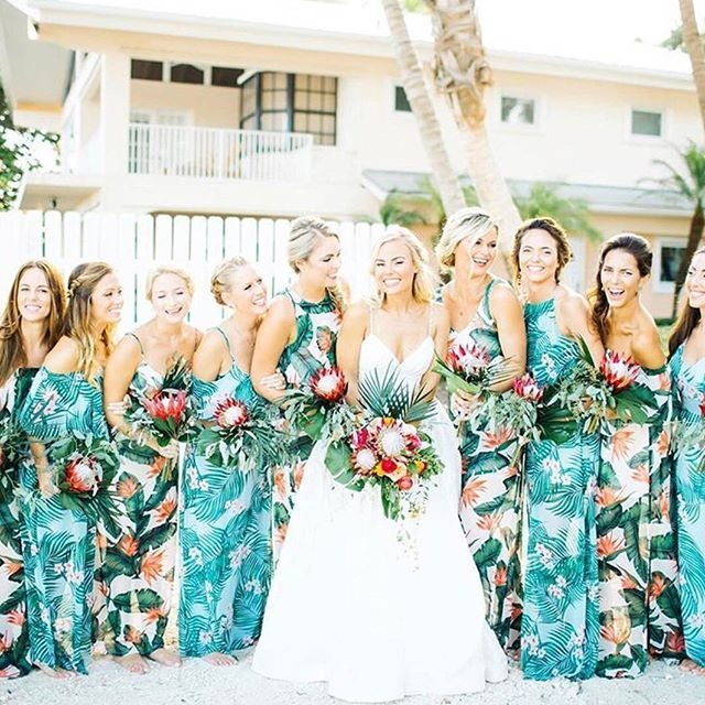 c7a5e10210a213 Bright + fun bridesmaids in our tropical print #mumuweddings dresses  Hibiscus Wedding, Tropical Wedding