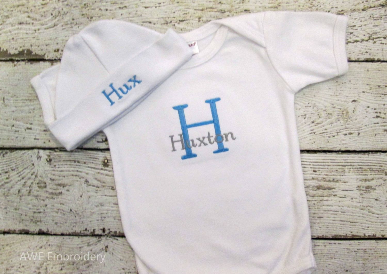 Monogrammed Infant Gown or Bodysuit and Hat for Baby Boy or Baby ...