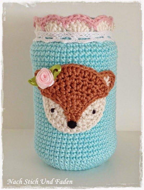 Cute jar cover, no pattern | amigos | Pinterest | Frascos, Tejido y ...