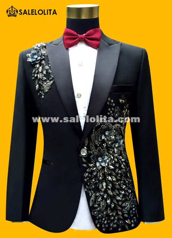 Men Suits ( Jacket + Pants ) Fashion Black Paillette Embroidered Male Singer Slim Performance Party Prom Costume #men'ssuits