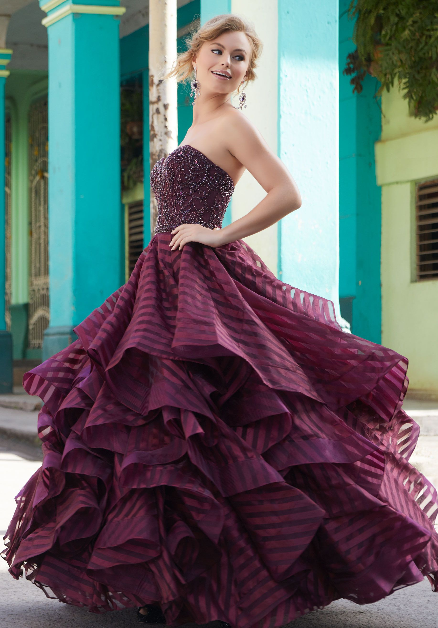 Morilee satin striped organza prom dress with a full flounced
