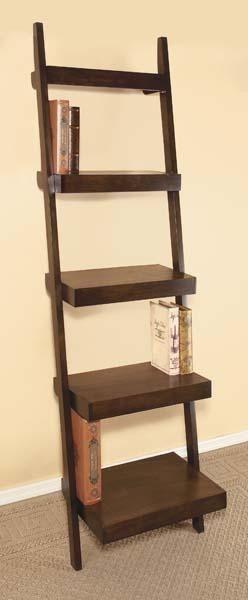 tall leaning shelf graduated ladder open style bookshelf walnut finish modern