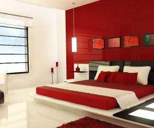 Superbe Design By Zaib. This Ultra Modern Red Bedroom, Is Accessorized With Light  Panels,