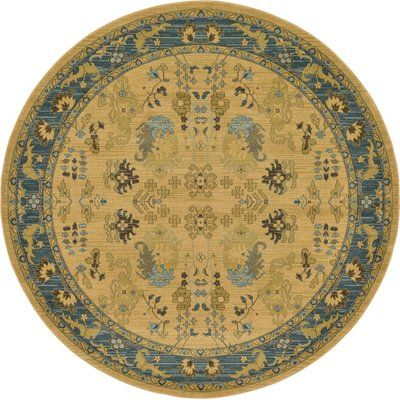World Menagerie Fonciere Tan Area Rug Rug Size: Round 8'