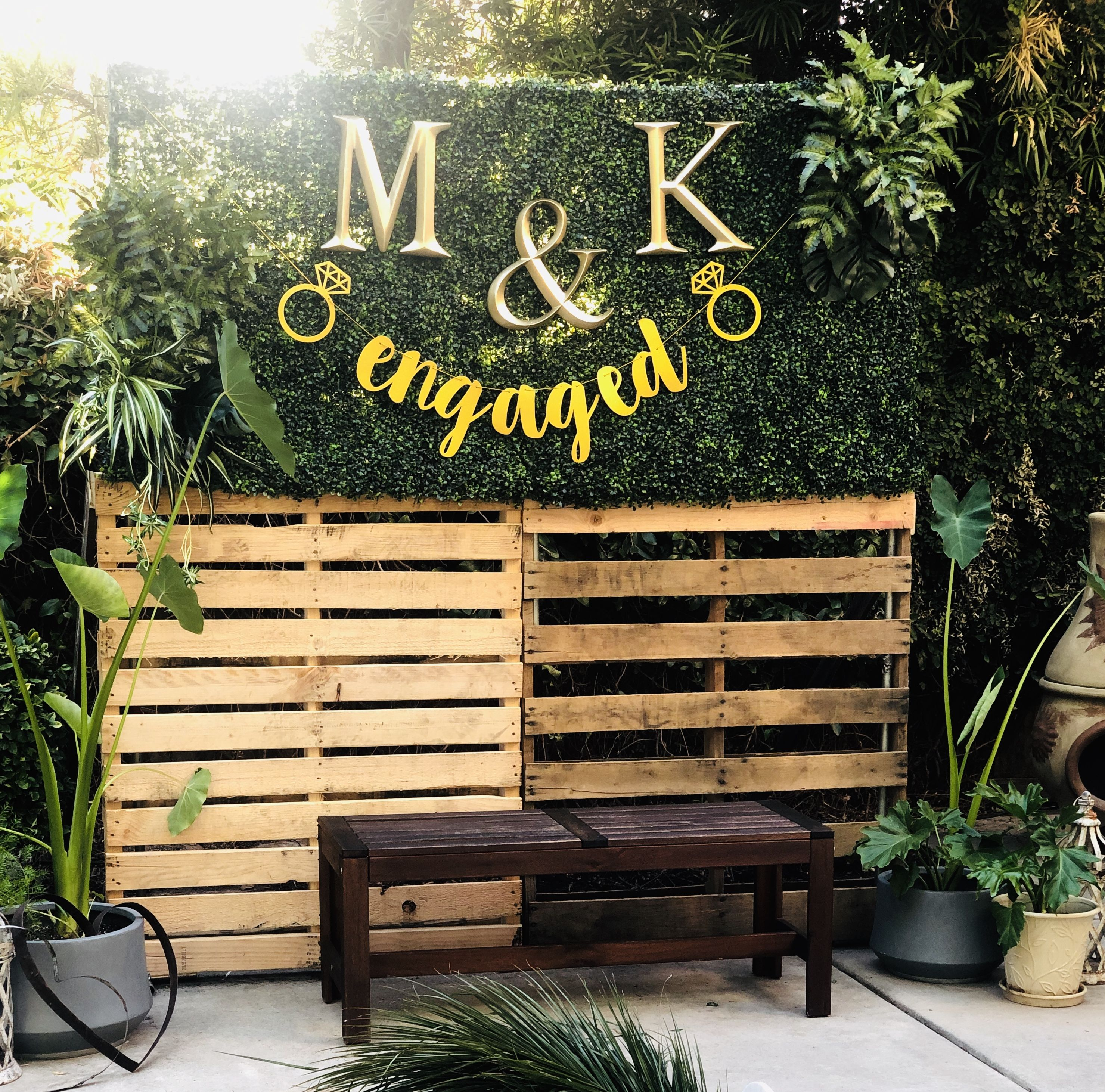 Pallet Backdrop Outdoor Engagement Party Engagement Party Backdrop Engagement Party Banners