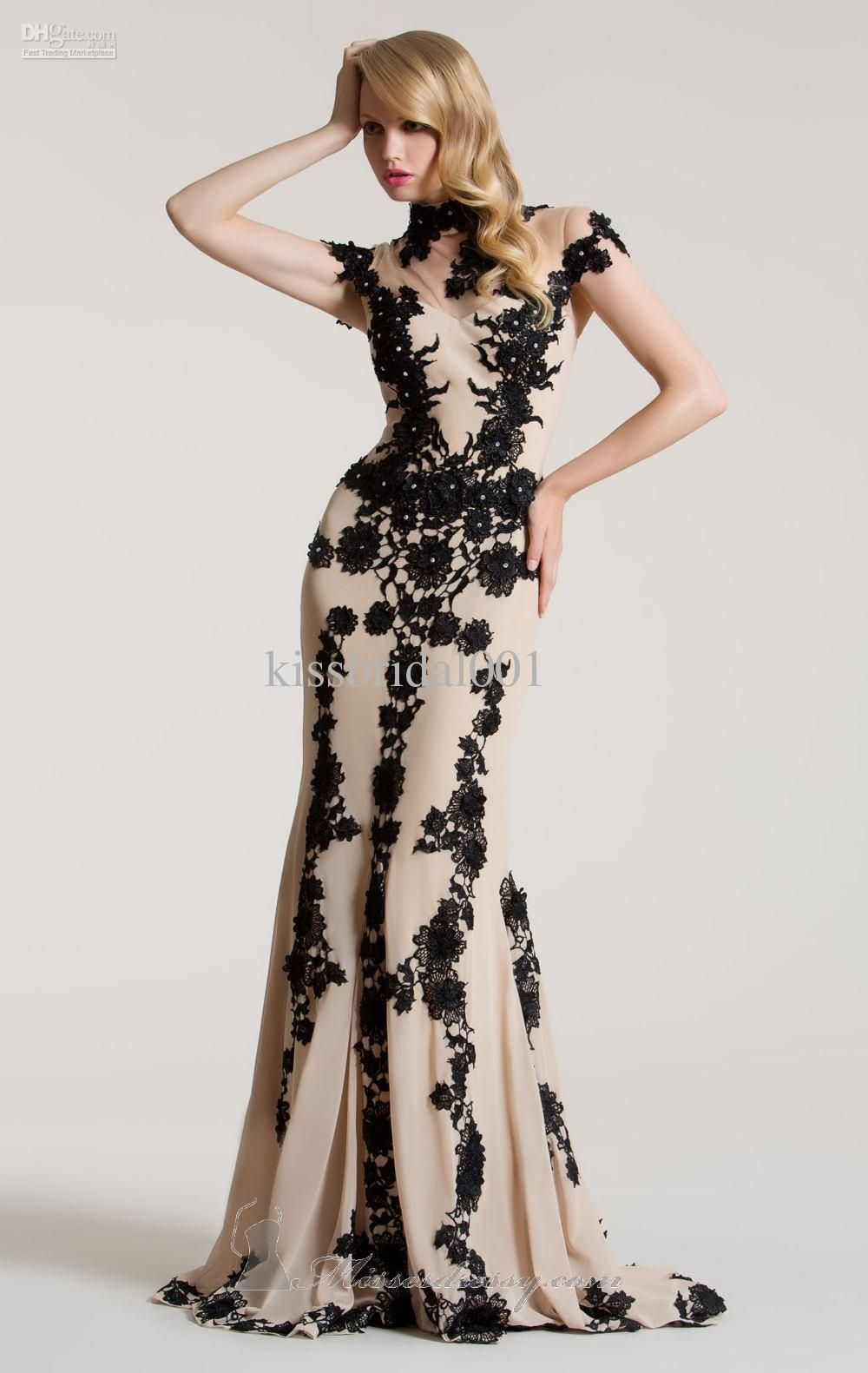 New women mermaid high neck tulle beaded black applique lace nude