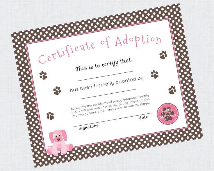 Puppy Adoption Birthday Party Adoption Certificate  Printable