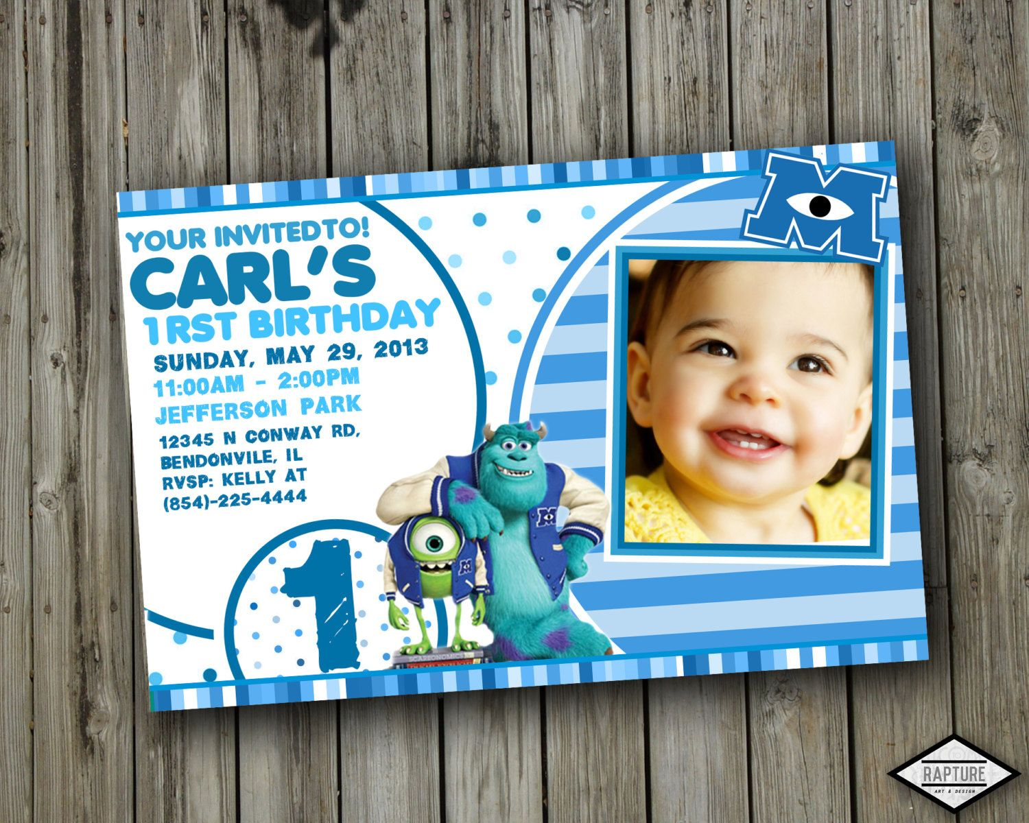 Monster INC University Birthday Party Invitation by RaptureArts ...