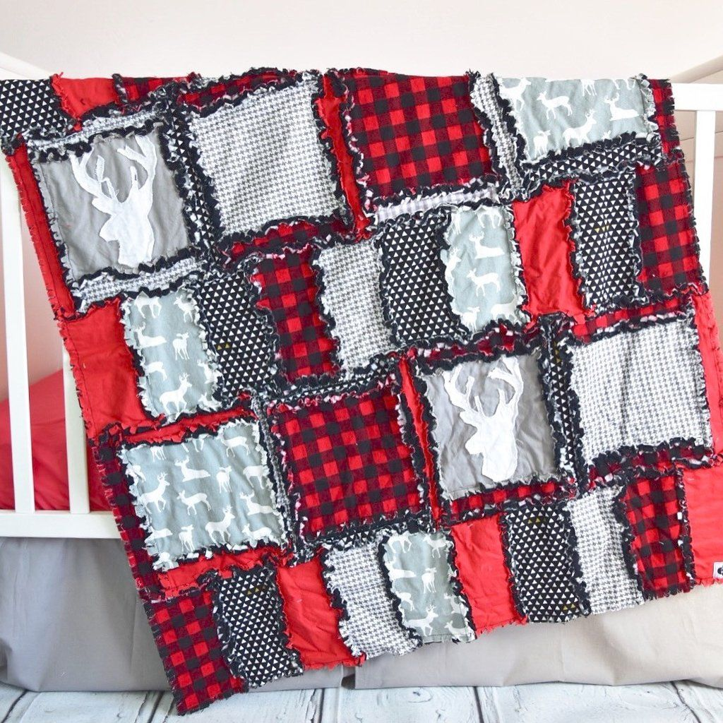 Rag quilt for a crib quilt or toddler bed baby blanket in red, black ...
