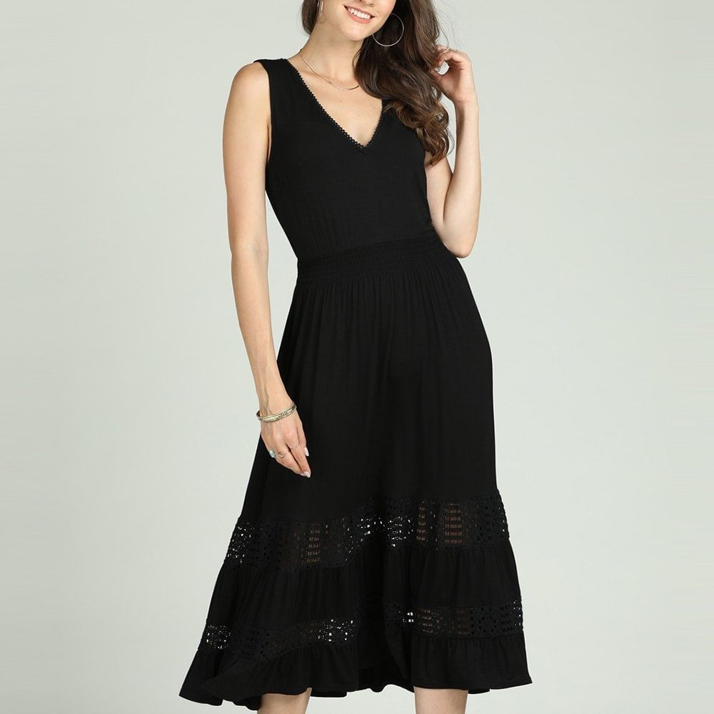 SBETRO Solid A-Line Dress Hollow Out Elegant Party 6