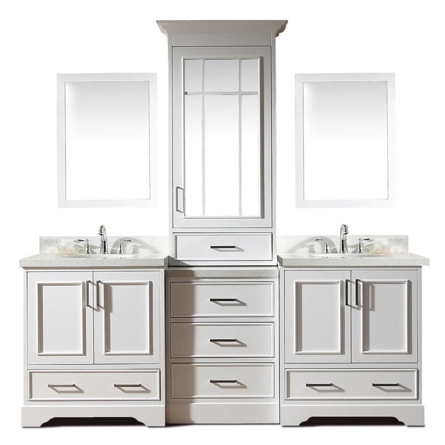 Ariel Stafford 85 In White Double Sink Bathroom Vanity With White Quartz Top Mirror Included Lowes Com Bathroom Sink Vanity Double Sink Vanity Double Sink Bathroom