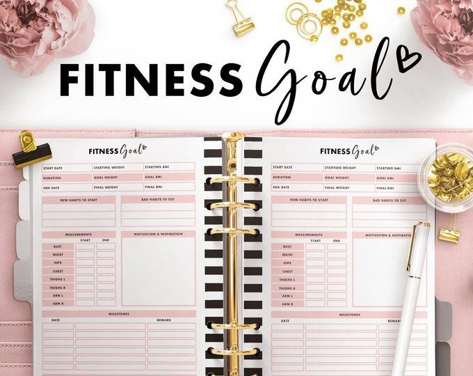 Personal Size Fitness Planner Fitness Printable Fitness Journal Health and Fitness Plan Wellbeing Pl...