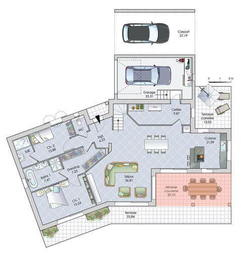 Une maison aux lignes inspirées du passé en 2018 Plan de maison - Construire Une Maison De 200m2