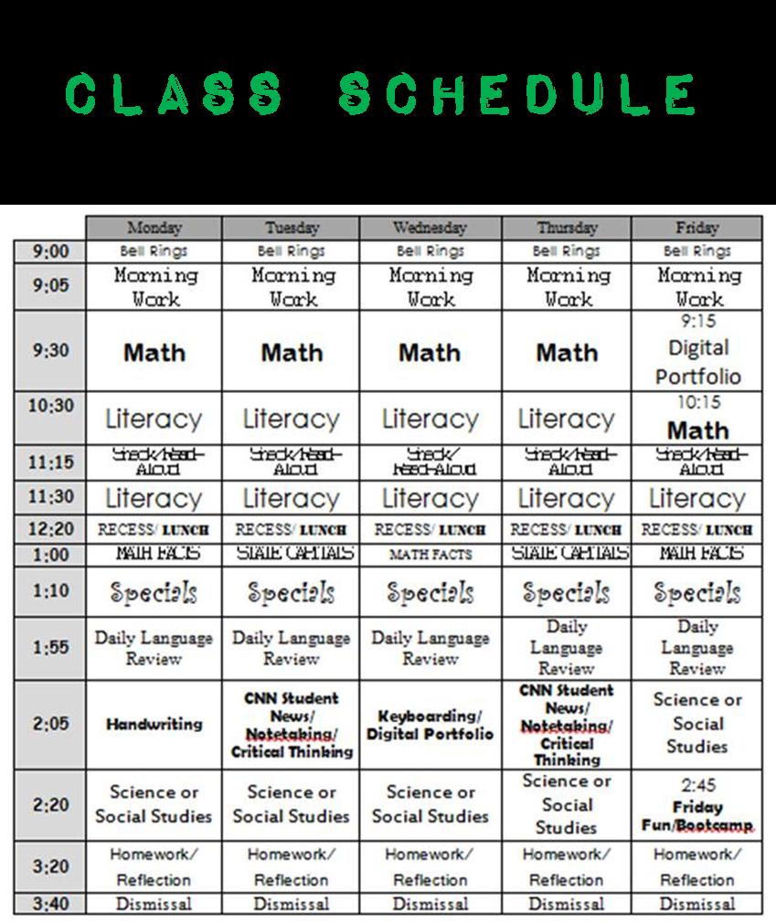 Daily Schedule Mrs St Louis 5th Grade Fifth Grade Homeschool Help New Teachers [ 1011 x 849 Pixel ]