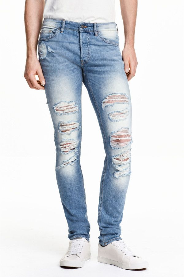 Skinny Regular Trashed Jeans: jeans in washed stretch denim with hard-worn  details, a regular waist, button fly and skinny legs.