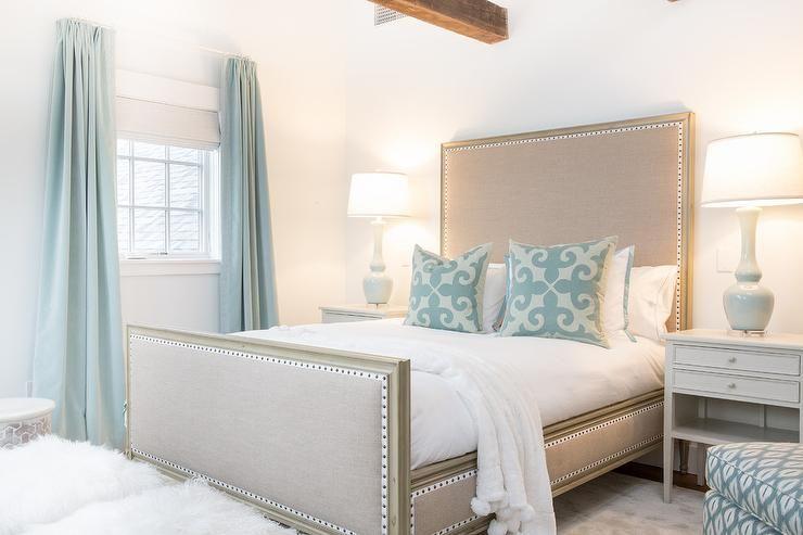 Beige And Blue Cottage Bedroom Beige Room Blue Curtains Bedroom