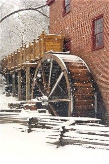 Colvin Run Mill is an early 19th Century wooden water wheel and operating gristmill.