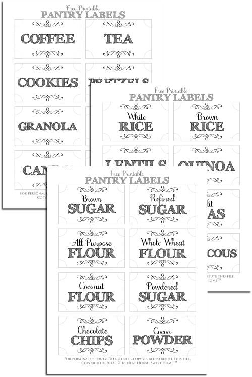 Free Printable Pantry Labels Neat House Sweet Home Pantry Labels Printable Free Pantry Labels Printable Pantry Labels