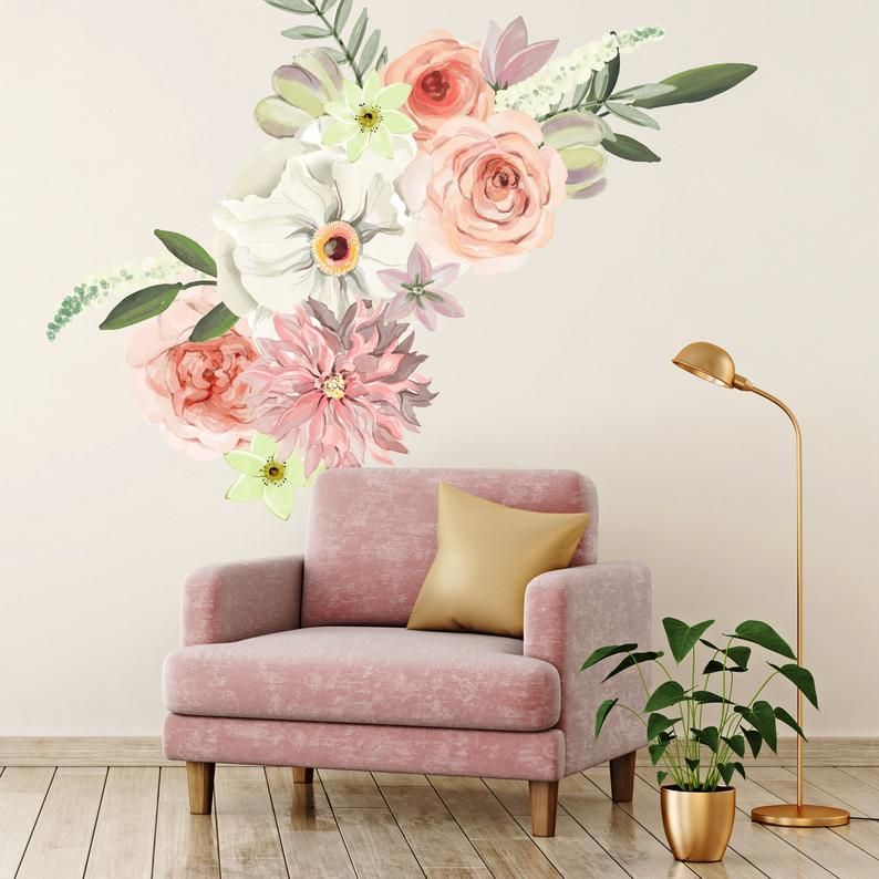 Flower wall decals peonies roses dahlias in a hand