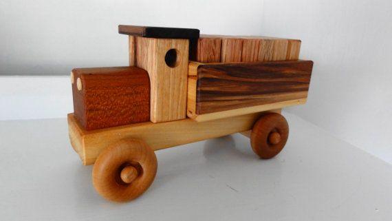 Handmade Wooden Toy Cargo Truck W Plain Blocks Wooden