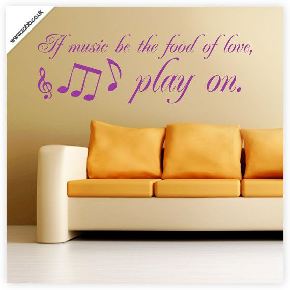 Shoply.com -If music be the food of love play on quotation vinyl ...