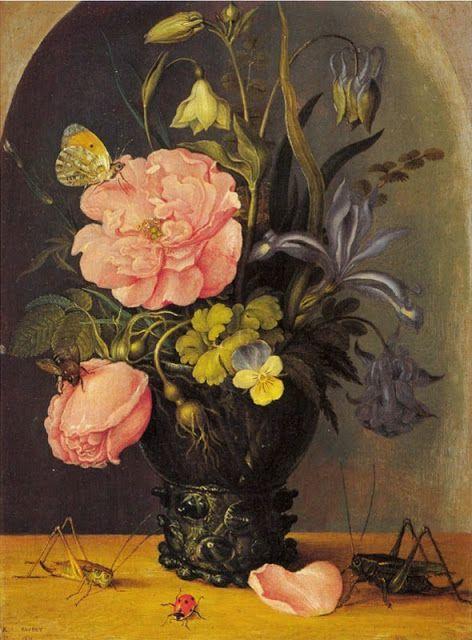 Roelandt Savery Flemish Northern Renaissance Painter 1576 1639 Flowers In A Niche 1611 Still Life Flowers Rose Painting Painting Still Life