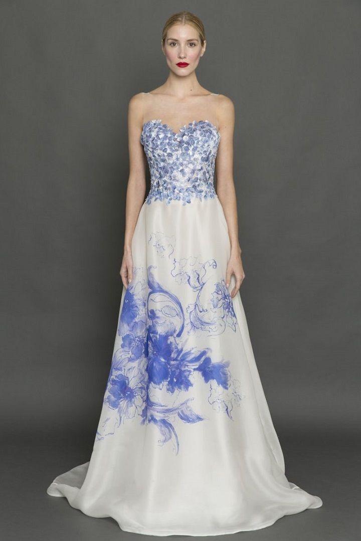 Francesca Miranda blue floral print gowns | itakeyou.co.uk #weddingdress #weddingdresses #bluefloral #bride #bridalgown #weddinggown #weddinggowns