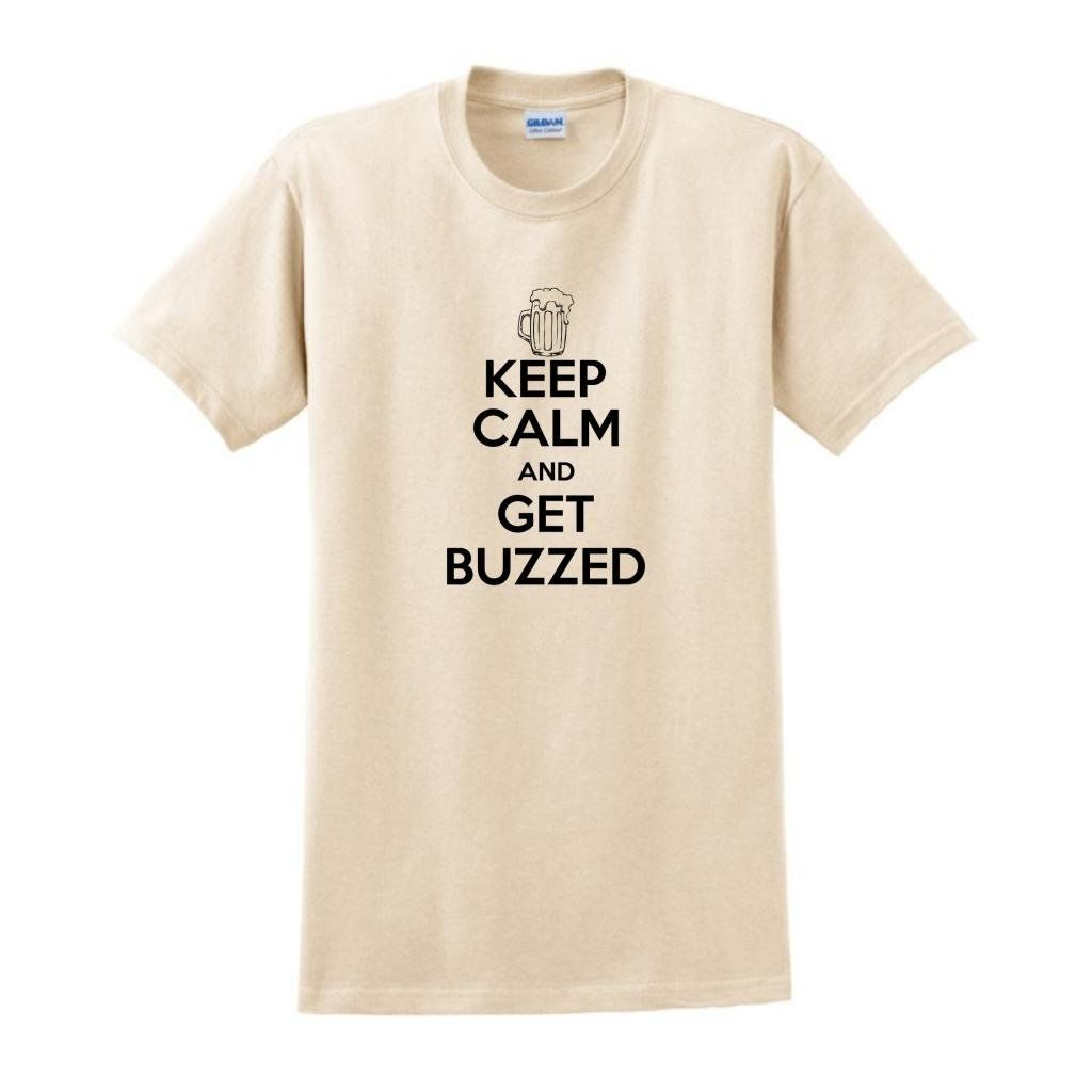 ThisWear Mens Keep Calm and Get Buzzed T-Shirt