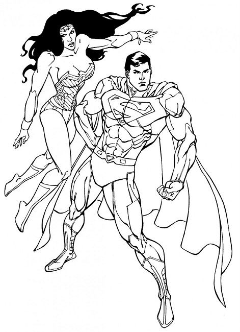 Superman Wonder Woman Coloring Pages