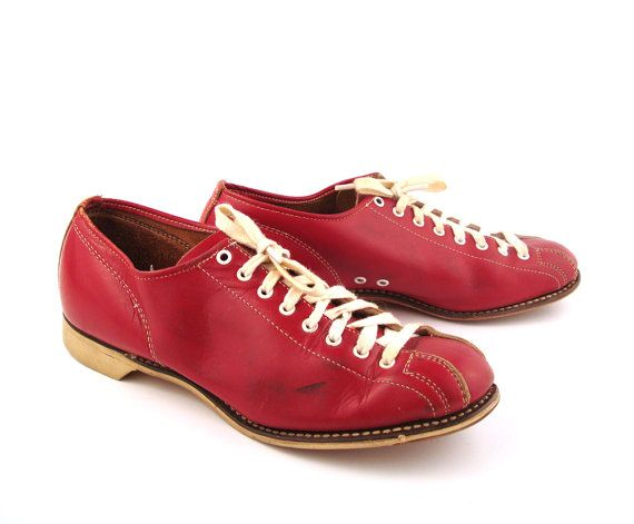 Red Bowling Shoes Vintage 1950s Men's 5