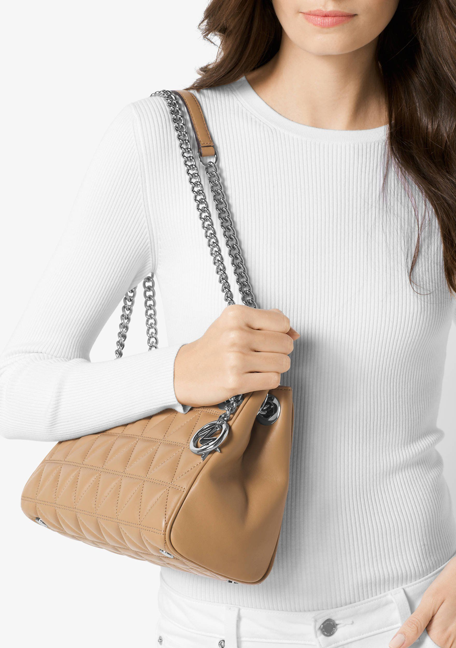 c2fb6e394e3f30 Michael Kors Scarlett Medium Quilted Leather Messenger Bag Cashew * Read  more at the image link. (This is an affiliate link) #MichaelKorsHandbags