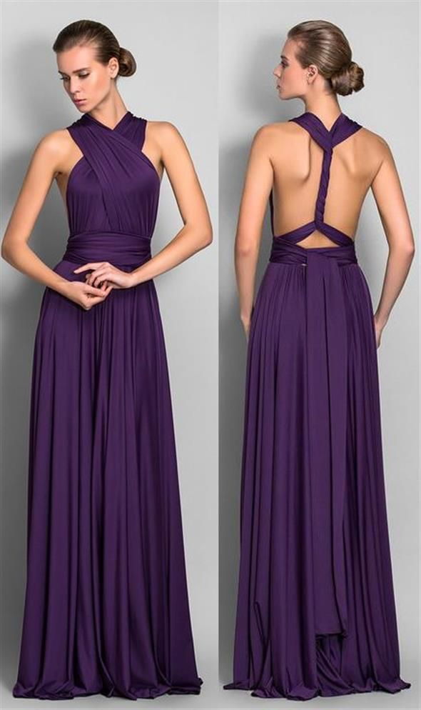 A-Line Floor Length Jersey Bridesmaid Dress with Pleats Criss Cross ...