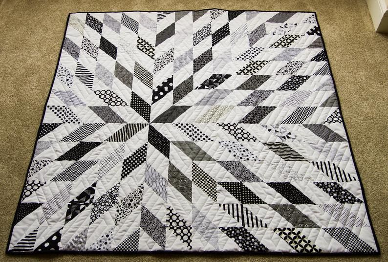 Black And White Starburst Quilt What A Great Wedding Birthday Or Anniversary Gift For Mom Dad Or Teens 57 X 57 Minky Quilt Minky Quilt Quilts Handmade Quilts Black and white quilts for sale
