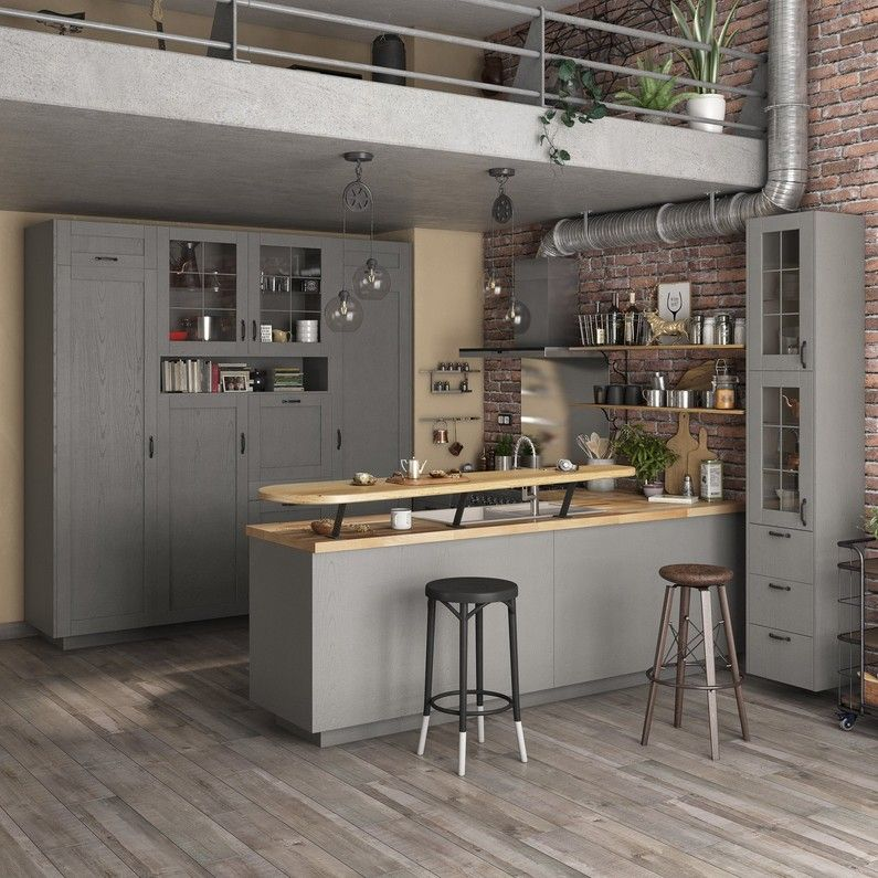 Cuisine Grise Et Ilot De Cuisine Dans Un Loft Leroy Merlin Cuisine De Petit Appartement Amenagement Cuisine Ouverte