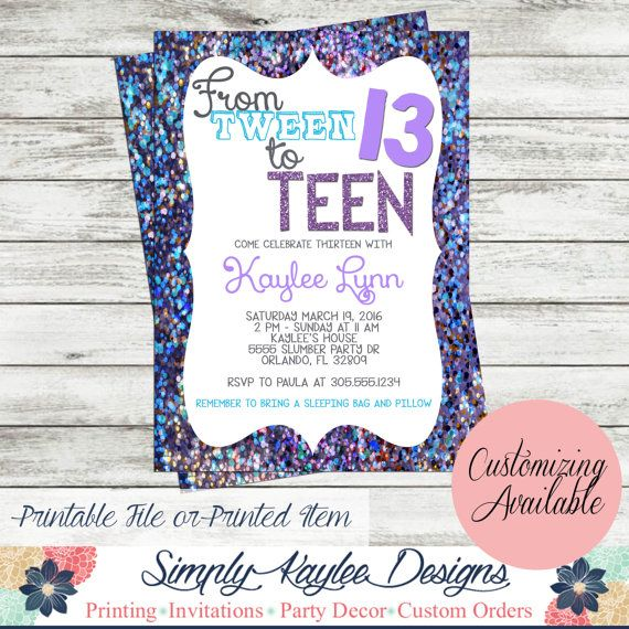 Tween To Teen Birthday Party Invitation By SimplyKayleeDesigns - Birthday party invitation ideas pinterest