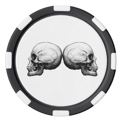 Profile Skull Black and White Poker Chips - black gifts unique cool diy customize personalize