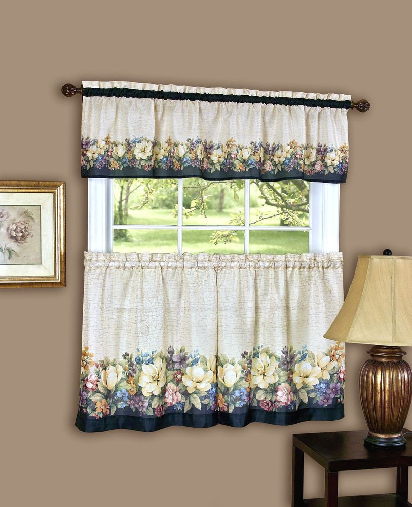 Details About Antique Floralª Kitchen Curtain Tier And Valance Set