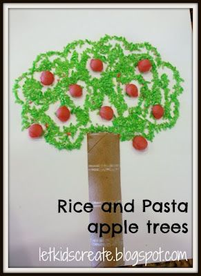 dyed rice and pasta to make apple trees ~ great craft for a lesson on creation, day 3